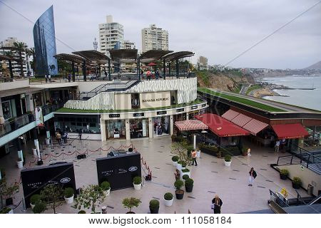 Lima, Peru - November 4, 2015: Shopping Complex In The District