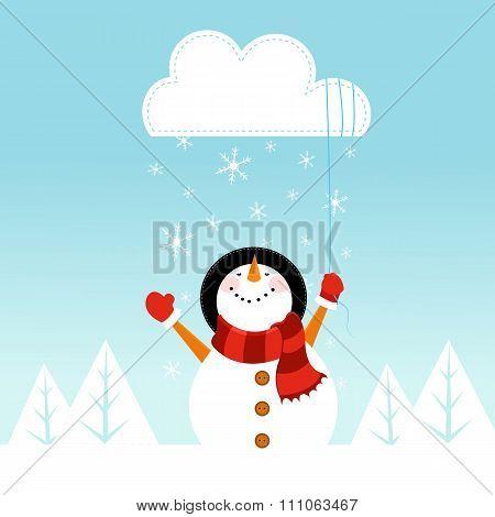Snowman Catching Cloud