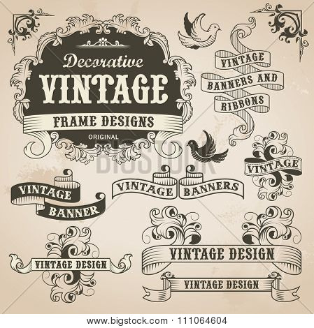 Retro vintage banner and ribbon set. Vector illustration design elements with textured background