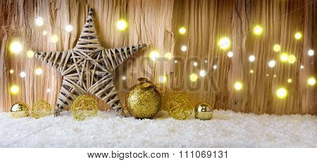 Christmas background with decorative star,Christmas balls  and light.