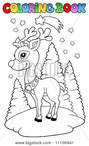 Coloring book with Christmas reindeer - vector illustration. poster