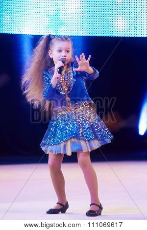 Minsk, Belarus December 05: Sofia Bogdanova Sing A Song During 'baby Cup - Bsb Bank' Childre