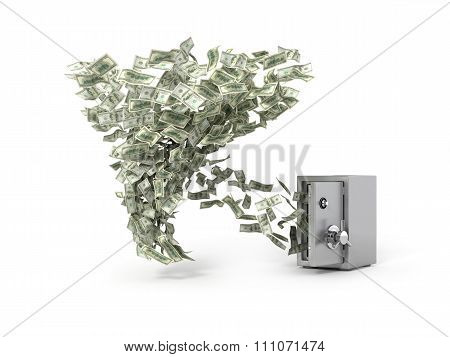 Money Whirlwind Take Dollar Banknotes From The Safe. Concept Of Loosing Capital