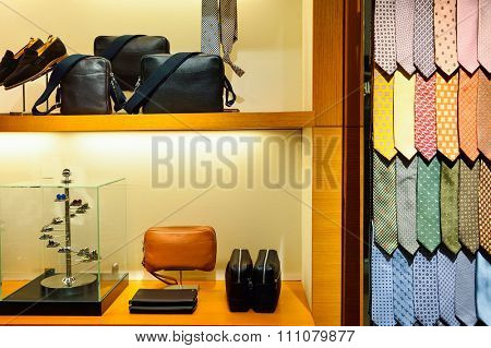 HONG KONG - MAY 5, 2015: interior of the Dunhill store. Alfred Dunhill, Ltd. is a British luxury goods brand, specialising in ready-to-wear, custom and bespoke menswear, leather goods, and accessories