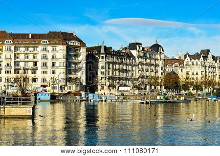 GENEVA, SWITZERLAND - NOVEMBER 19, 2015: view of Geneva. Geneva is the second most populous city in Switzerland, after Zurich.