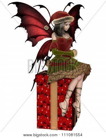 Christmas Fairy Elf Girl Sitting on a Present