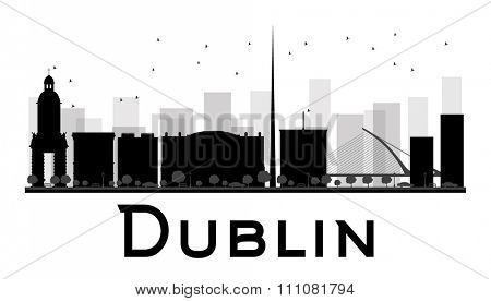 Dublin City skyline black and white silhouette. Simple flat concept for tourism presentation, banner, placard or web site. Business travel concept. Cityscape with famous landmarks