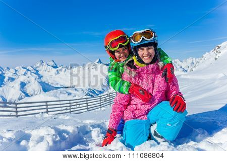 Kids at ski resort