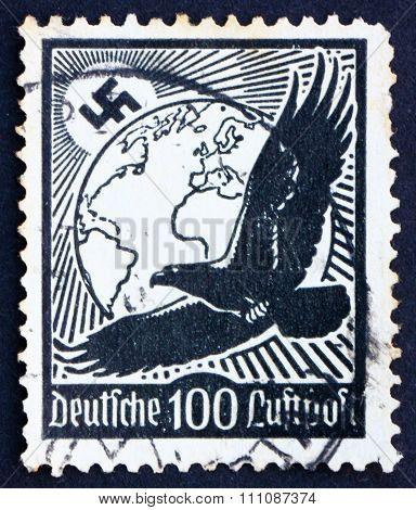 Postage Stamp Germany 1934 Swastika Sun, Globe And Eagle
