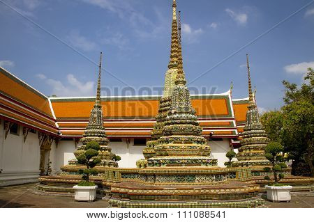 Ornate mosaic stupas at the Temple of Wat Pho, Thailand