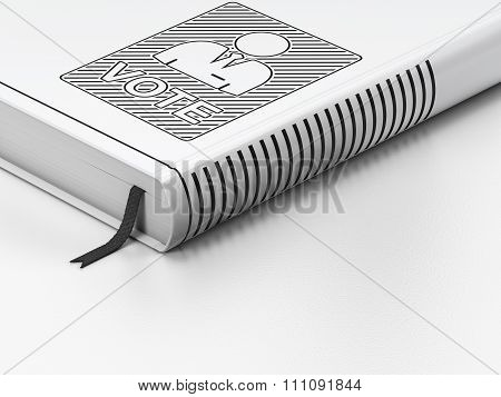 Politics concept: closed book, Ballot on white background