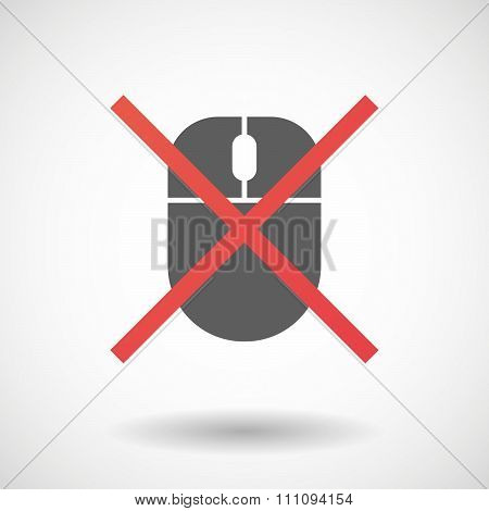 Not Allowed Icon With A Wireless Mouse
