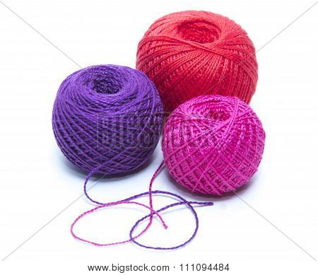 Tangle Of Colored Thread For Tatting. White Background
