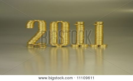 Number two thousand and eleven laid stacks of coins