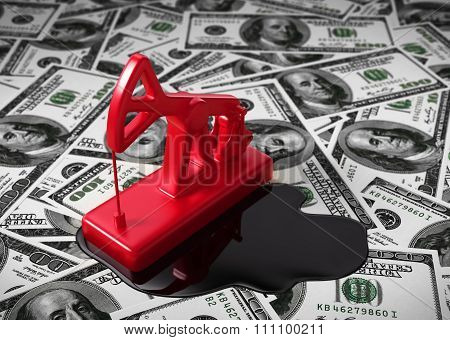 Pumpjack And Spilled Oil On The Money