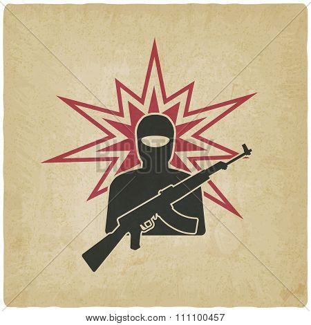 Terrorist With Gun Old Background
