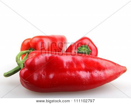 Red Cayenne Peppers Isolated On White Background