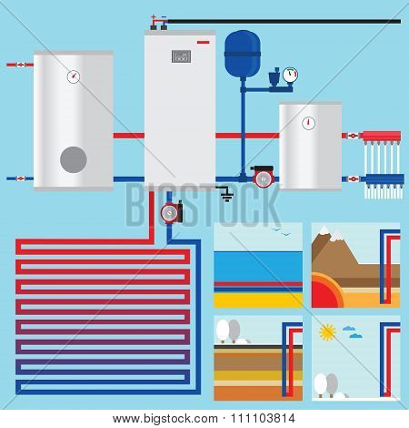 Heat Pump In The Cottage. Vertical Collector. Horisontal Collector. Vector. Geothermal, Air And Wate
