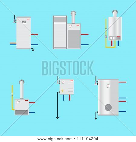 Different Boilers Icons Set. Flat Style. Electrical, Gas, Pyrolysis Boilers And Heat Pump. Efficient