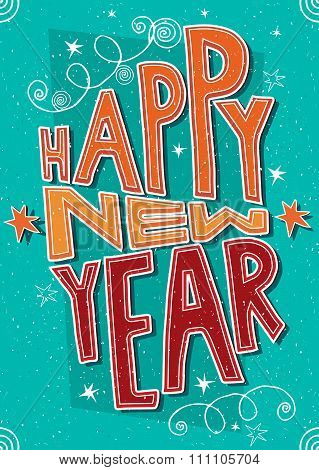 Handmade Postcard Happy New Year
