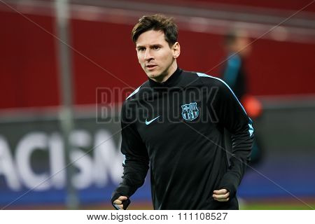 Lionel Messi  Before The Beginning The Uefa Champions League Game Between Bayer 04 Leverkusen Vs Bar