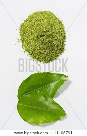 Two kaffir leaves and blend leaves isolated on white background.