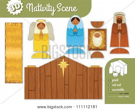 Nativity Scene. Vector print and assemble set