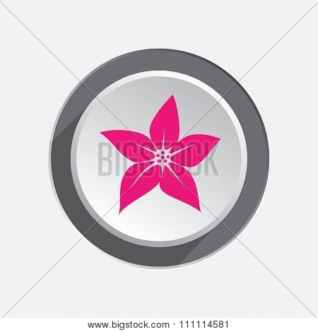 Lilia flower icons. Floral symbol. Circle three-dimensional button with shadow. Vector