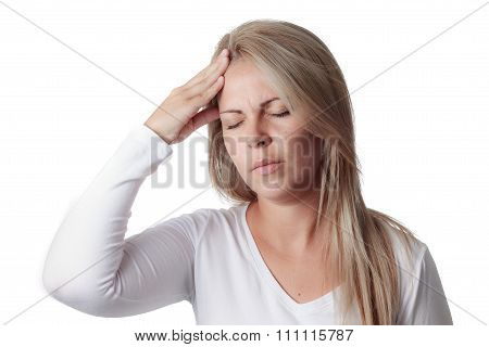 Woman Holding Her Head Isolated On White Background. Headache, Meningitis
