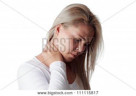 woman holding the neck isolated on white background. sore throat meningitis poster