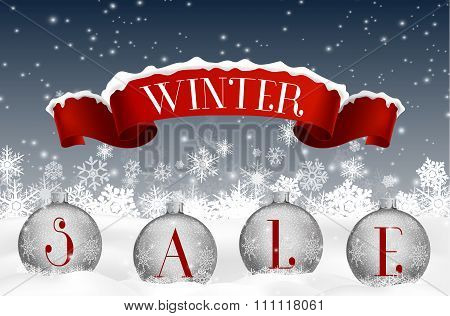 Winter sale background with red realistic ribbon banner and balls