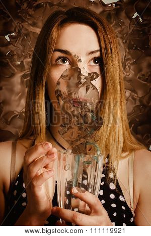 Cafe Tin Sign Girl Drinking Chocolate Milkshake