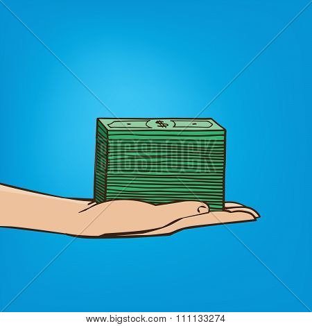 Outstretched Hand With Wad Of Cash