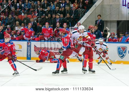 MOSCOW - MARCH 19, 2015: Unidentified hockey player on hockey game Yokerit vs CSKA on Russia KHL championship in the sports complex CSKA Moscow, Russia. CSKA won 4: 2
