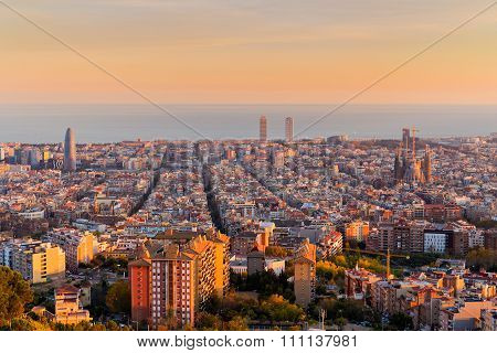 Barcelona Skyline In The Afternoon At Golden Hour