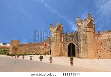 The Gate Of Chellah Which Is The World Heritage In Rabat With Blue Sky