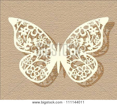 Lace butterfly in beige colors