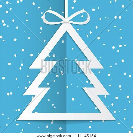 Christmas And New Year Background With Christmas Tree And Snowflakes