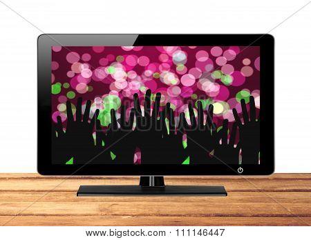 Modern Tv Screen Festive Lights On Wooden Table