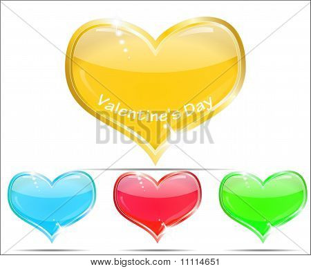 Four glossy glass hearts