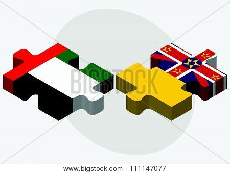 United Arab Emirates And Niue Flags