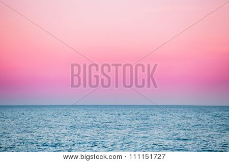 Calm Sea Ocean And Pink Sky Sunset Sunrise Background