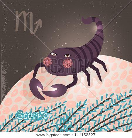 Scorpio zodiac sign of Horoscope. Vector Illustration. poster