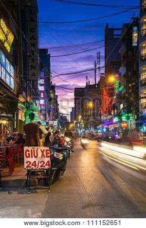 Night view of Bui Vien street, Saigon, Vietnam