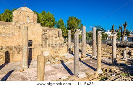 Ruins of early Byzantine basilica in Paphos - Cyprus poster