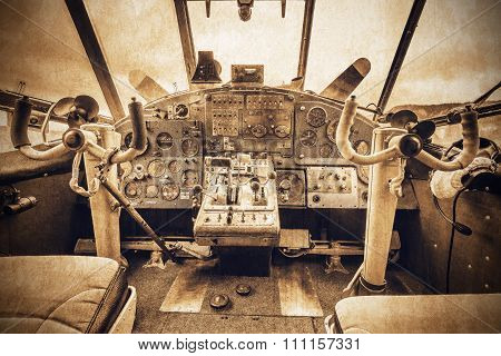 Cockpit view of the old retro plane.