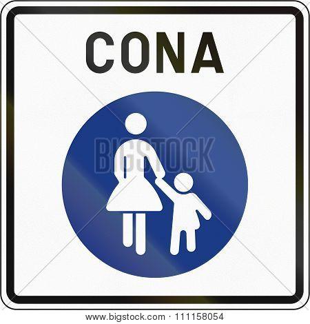 Slovenian Road Sign - Pedestrian Zone. Cona Means Zone