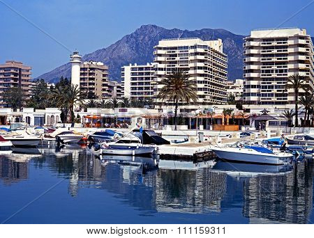 Marbella harbour and waterfront.