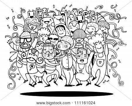 Hand Drawing Doodleof Funny Party People