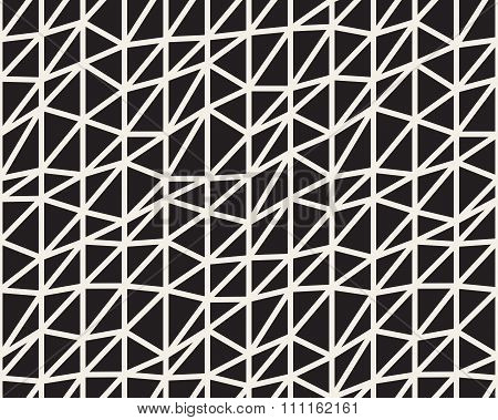 Vector Seamless Black And White Irregular Triangle Lines Grid Structure Pattern